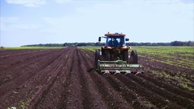 Agriculture seeder on the field stock footage