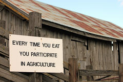 Agriculture Sign on a Country Barn Stock Images