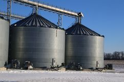 Agriculture silos on farm Stock Image