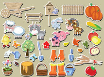 Agriculture stickers set Royalty Free Stock Photo