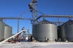 Agriculture storage silos on farm Royalty Free Stock Photos