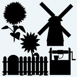 Agriculture. Sunflower and fence, old water well and windmill Vector Illustration