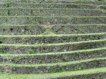 Agriculture terraces of Machu Picchu. Peru. Hill with agriculture terraces and mountain roads stepwise of Machu Picchu in Peru Royalty Free Stock Image