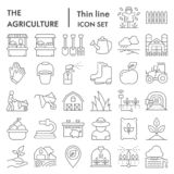 Agriculture thin line icon set, farming symbols collection, vector sketches, logo illustrations, gardening signs linear. Pictograms package isolated on white vector illustration