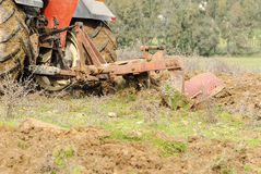 Agriculture tractor plowing Sardinia Stock Photography