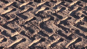 Agriculture tractor protector traces on field stock footage