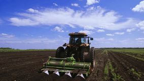 Agriculture tractor seeding plants stock video footage