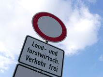 Agriculture traffic sign in German language. In Germany Royalty Free Stock Photography