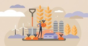 Agriculture vector illustration. Mini persons concept with harvest crops. Farmer on field with healthy vegetables and roots. Flat symbolic modern food royalty free illustration