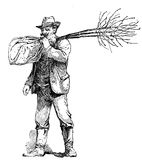 Agriculture vintage illustration, farmer transporting trees read Royalty Free Stock Image