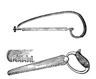 Agriculture vintage illustration, saw for wood and saw teeth sha Stock Image