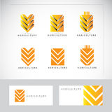 Agriculture wheat logo. Agriculture logo with stylized wheat icon with business card template Stock Photos