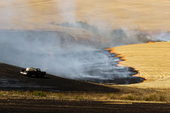 Agriculture Worker Burns Plant Stalks After Harvest Ground Fire. Farmers do a controlled burn before plowing after harvest stock images