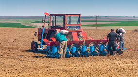 Agriculture workers near tractor on field Stock Image