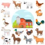 Agricultute-Tier-Farbflache Ikonen eingestellt Bauernhoffarbillustration stock abbildung