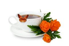 Agrida com café e flores no fundo branco Fotografia de Stock Royalty Free