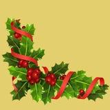 Agrifoglio di Natale con le bacche rosse illustrazione di stock