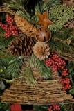 Agrifoglio e bacche di Pinecone Fotografia Stock
