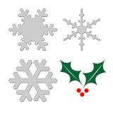 Agrifoglio e fiocchi di neve Immagine Stock