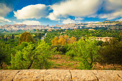 Agrigento city seen from the Valley of Temples Stock Photo