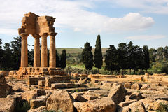 Agrigento - Greek ruins. Agrigento, Sicily island in Italy. Famous Valle dei Templi, UNESCO World Heritage Site. Greek temple - remains of the Temple of Castor royalty free stock photography