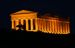 Agrigento  Greek temple in Sicily. Night view to an old greek temple in the Agrigento aerea, south western Sicily Stock Photos