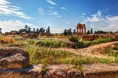 Agrigento, Sicília Templo do rodízio e do Pollux Fotos de Stock