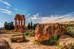 Agrigento, Sicília Templo do rodízio e do Pollux Imagem de Stock Royalty Free