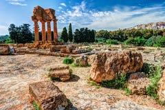 Agrigento, Sicília Templo do rodízio e do Pollux Fotos de Stock Royalty Free