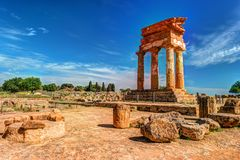 Agrigento, Sicily. Temple of Castor and Pollux. One of the greeks temple of Italy, Magna Graecia. The ruins are the symbol of Agrigento city royalty free stock image
