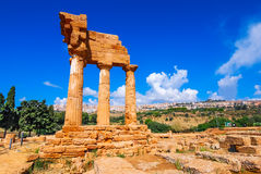 Agrigento, Sicily. Temple of Castor and Pollux one of the greeks temple of Italy (Magna Graecia). The ruins are the symbol of Agrigento city royalty free stock image