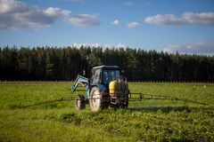 Agrikultura tractor cultivates the soil on the field.  Stock Image