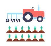 Agrimotor con el ejemplo del vector de la zanahoria del arado ilustración del vector