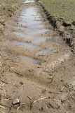 Agrimotor mud trail with water. Agrimotor trail in the mud, filled with rain water stock photo