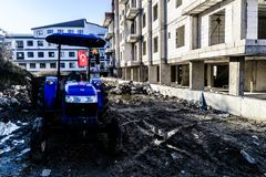 Agrimotor Parked On Construction Site Royalty Free Stock Photos