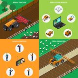 Agrimotor Robots Design Concept. Agriculture robot modern technology isometric 2x2 design concept with images of android driven agrimotors with text vector Stock Images