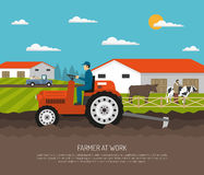 Agrimotor Works Farm Composition. Farm background with flat farmsteading landscape and farmer character on agrimotor and livestock animals with text vector Stock Photos