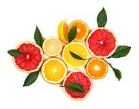 Agrios aislados Pedazos de limón, de cal, de pomelo rosado y de naranja aislados en el fondo blanco, con el recortes Imagenes de archivo