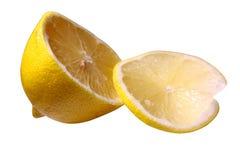 Agrios del limón con mitad de la fruta del limón aislados en el fondo blanco con la trayectoria de recortes foto de archivo libre de regalías