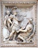 Agrippa handling som godkänner konstruktionen av den Aqua Virgo akvedukten på Trevi-springbrunnen i Rome Royaltyfri Fotografi
