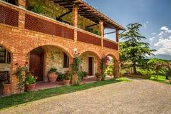 Agritourism w Tuscany pięknym słonecznym dniu Zdjęcie Royalty Free
