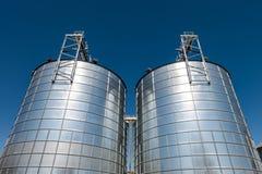 Agro-bearbeta v?xten f?r att bearbeta och silor f?r att torka lokalv?rd och lagring av jordbruksprodukter, mj?l, s?desslag och ko arkivbild