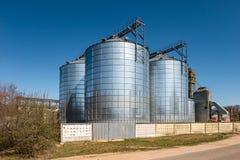 Agro-bearbeta v?xten f?r att bearbeta och silor f?r att torka lokalv?rd och lagring av jordbruksprodukter, mj?l, s?desslag och ko fotografering för bildbyråer