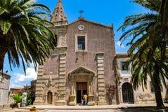 ` Agro, Italia di Forza d - 6 agosto 2009: La chiesa medievale degli ss trinità Immagine Stock Libera da Diritti