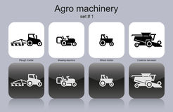 Agro machinery icons Royalty Free Stock Images
