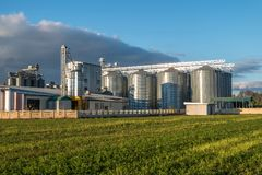 Agro-processing plant for processing and silos for drying cleaning and storage of agricultural products, flour, cereals and grain stock photos