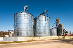 Agro-processing plant for processing and silos for drying cleaning and storage of agricultural products, flour, cereals and grain royalty free stock photography
