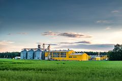 Agro-processing plant for processing and silos for drying cleaning and storage of agricultural products, flour, cereals and grain.  royalty free stock photo