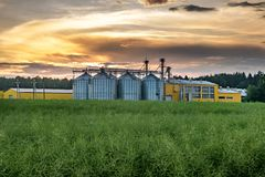 Agro-processing plant for processing and silos for drying cleaning and storage of agricultural products, flour, cereals and grain. With beautiful clouds royalty free stock photos