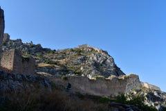 Agrocorinth,古老科林斯湾上城  库存照片